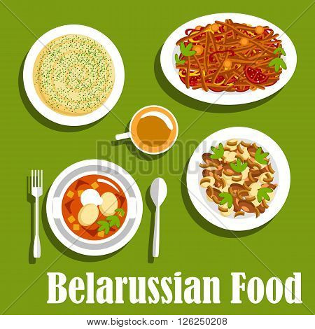 Traditional belarusian cuisine dishes icon with flat symbols of chicken chowder with sour cream, potatoes baked with mushrooms and bacon, vegetarian stew with tomatoes and bell peppers, creamy potato casserole with cottage cheese