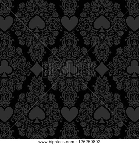 Black seamless casino gambling poker background with dark  damask pattern and cards symbols. Seamless pattern is in the swatches palette.
