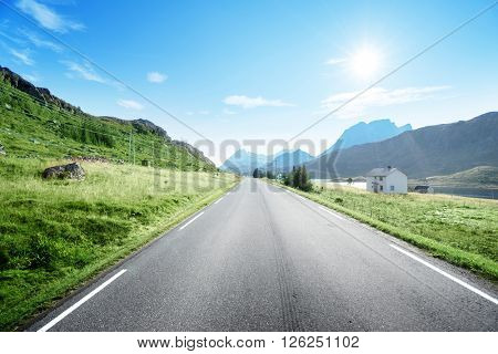 road and fog, Lofoten island, Norway