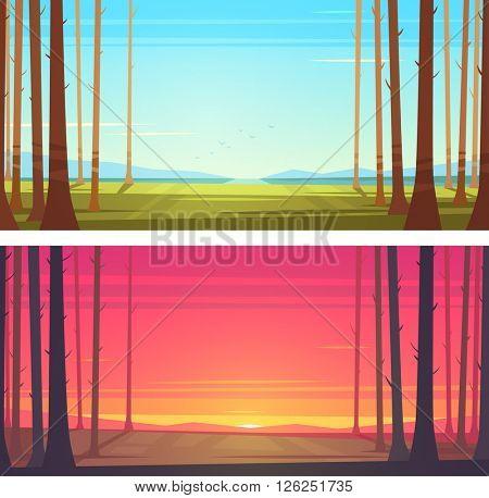 Forest landscape. Vector illustration.