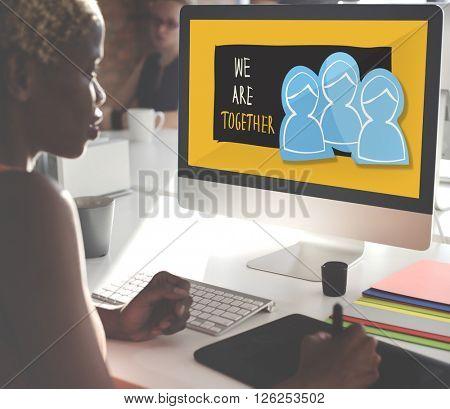We Are Together Teamwork Illustration Concept