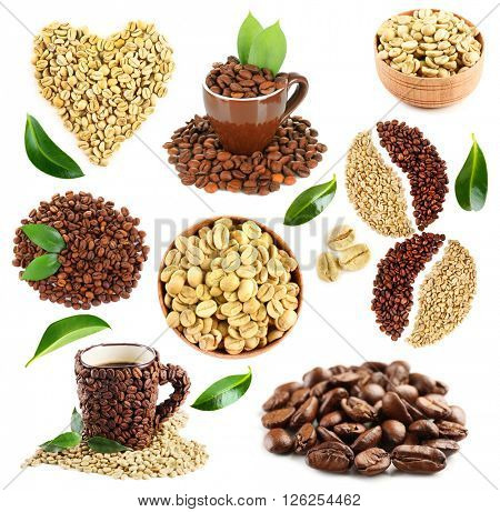 Colourful bright collage made of leaves and coffee beans with coffee cup, isolated on white