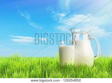 Milk in glassware on nature background