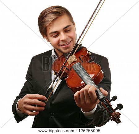 Handsome man plays violin isolated on white background, close up