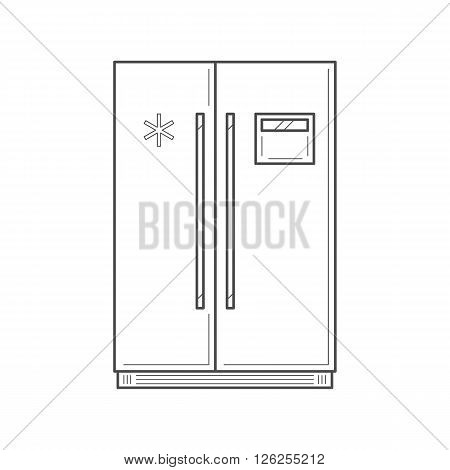Empty vertical fridge with two front panels for cooling drinks and products. Fridge isolated thin line vector Illustration. Vector kitchen appliance icon