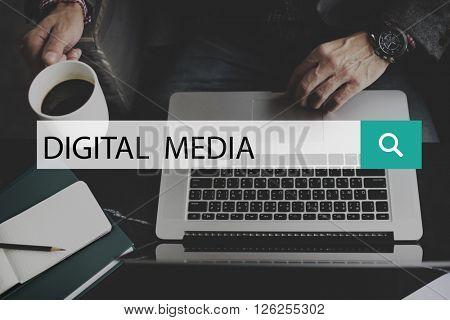 Digital Media Social Network Concept