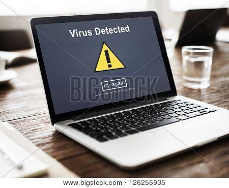 Virus Detected Alert Hacking Piracy Risk Shield Concept
