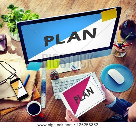 Businessman Connected Devices Plan Planning Concept