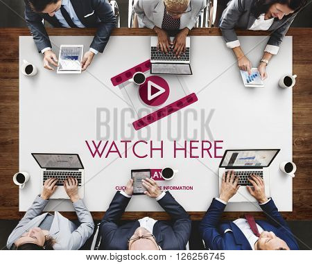 Watch Here Application Display Video Concept