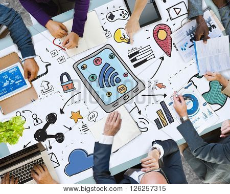 Social Media Wireless Online Networking Connection Concept