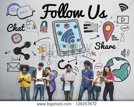 Follow us Follower Join us Social Media Concept