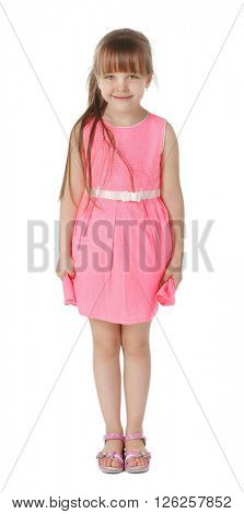 Little cute girl in pink dress, isolated on white