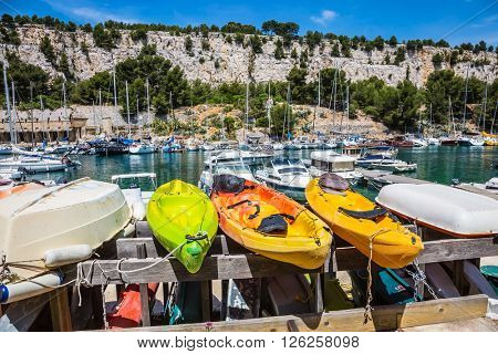 National Park Calanques on the Mediterranean coast. Dock for repair of yachts and boats.  The fjords between stony coast