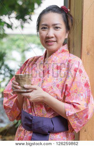 Lifestyle series : Asian woman in yukata