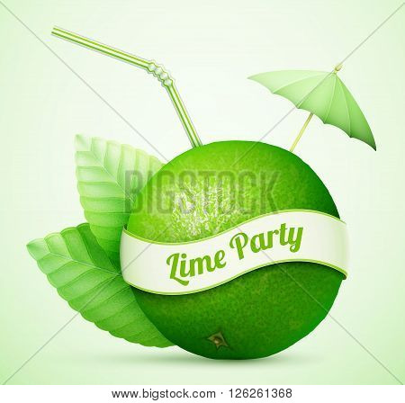 Fresh Lime With Umbrella And Stick