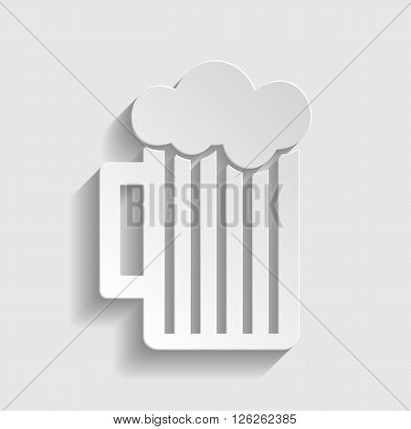 Glass of beer icon. Paper style icon with shadow on gray