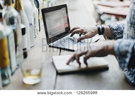 Senior Man Laptop Working Liquor Alcohol Bar Concept