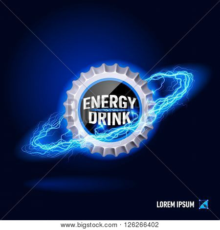 Cover energy drink surrounded by a stream of blue energy in the space