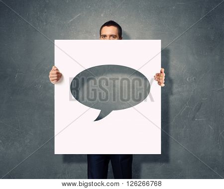 Man with speech banner