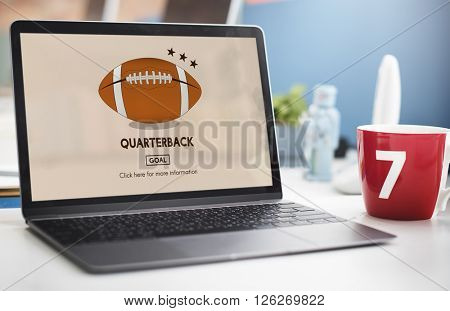 American Football Quarterback Player Team Concept