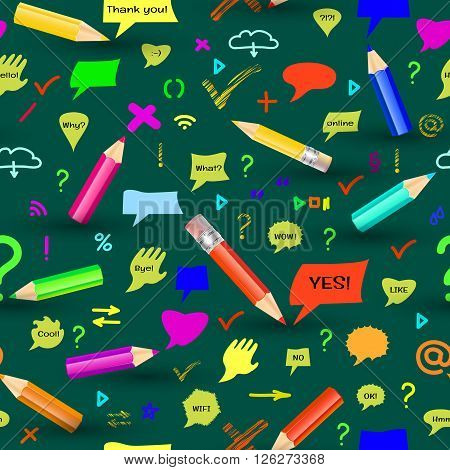 Seamless pattern with pencis, sings and speech bubbles on green background.