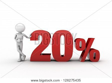 3D character with 20% discount sign  white background