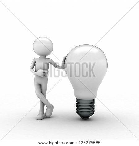 white men Light bulb white background soft shadow