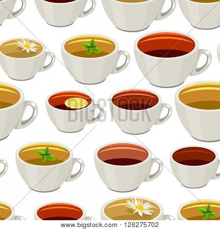 Seamless pattern with cups of tea. Endless texture for your design,restaurant and cafe menu.
