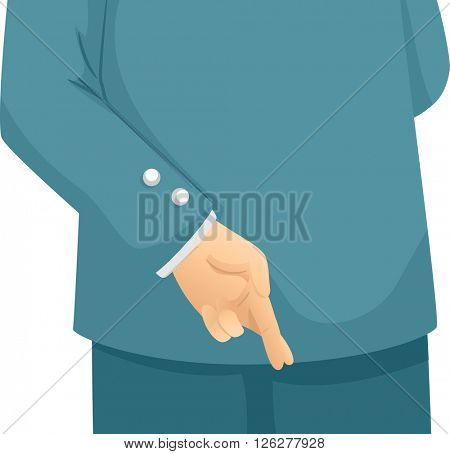 Illustration of a Man Dressed in a Suit Crossing His Fingers Behind His Back