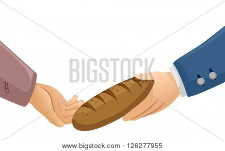 Illustration of a Rich Man Handing a Piece of Bread to a Poor Guy