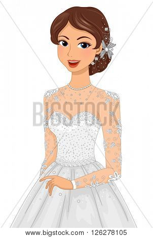 Illustration of a Bride Wearing Elaborate Accessories