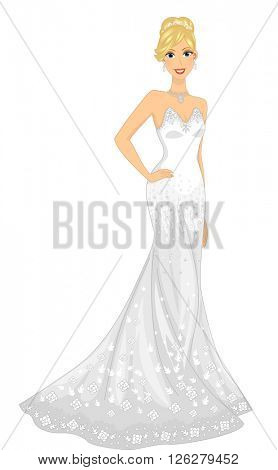 Illustration of a Lovely Bride Wearing a Strapless Gown poster