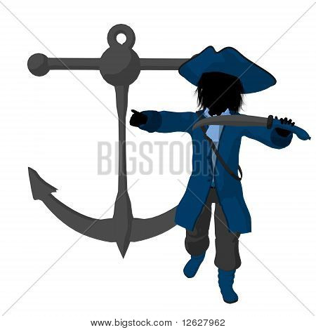 A teen pirate with an anchor on a white background poster