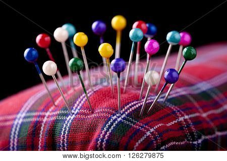 macro colored sewing pins in scottish pincushion