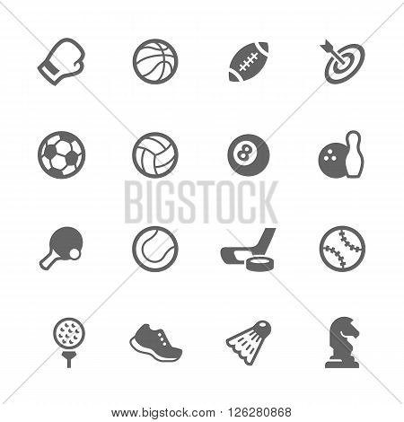 Simple Set of Sport Equipment Related Vector Icons. Contains Such Icons as Football, Ice Hockey, Chess, Sneakers and more.