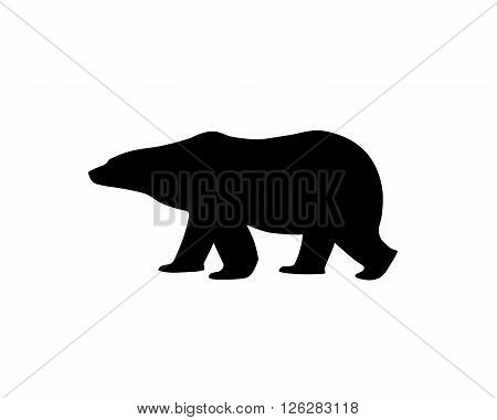 Silhouette of a polar bear. Walking or standing polar bear, side view.