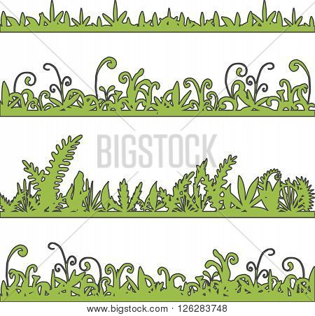 abstract vector landscapes with grass and plants, cartoon wild herbs, green jungle vegetation, hand drawn vector background