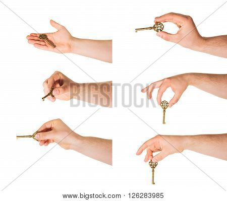 Caucasian hand holding a key isolated over white background, set of six foreshortenings