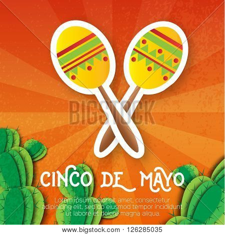 Mexican maracas succulent. Musical Instrument. Maraca Mexico Carnival Percussion Instrument. Orange background with cactus. Vector illustration.