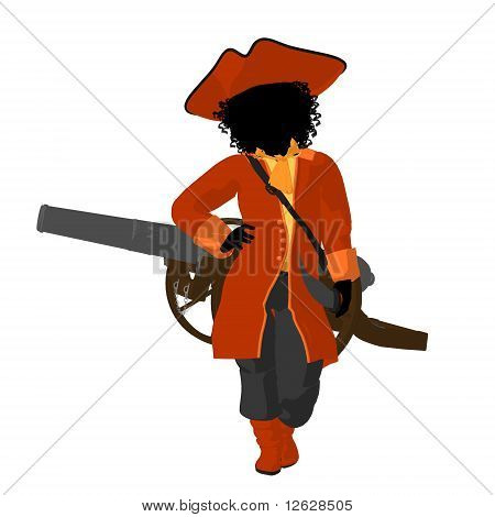 African American Teen Pirate Illustration Silhouette