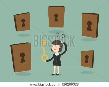 Business woman choosing the right door. Business Concept Cartoon Illustration.