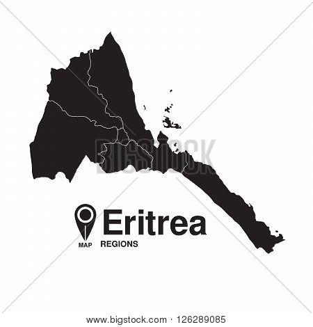 Eritrea map regions. vector map silhouette of Eritrea