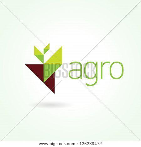 Agro symbol emblem sign. Leaf green logo