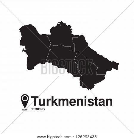 Turkmenistan map regions. vector map silhouette of Turkmenistan