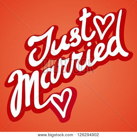 illustration of the just married calligraphy sign