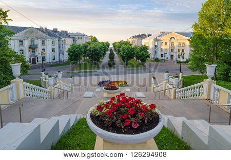 Stairs to the Promenade in Sillamae, Estonia