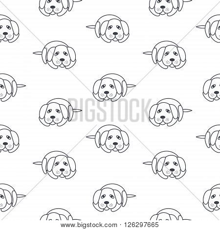 Bored lonely dogs wait its owners. Dog adoption concept. Vector line seamless pattern black on white background.