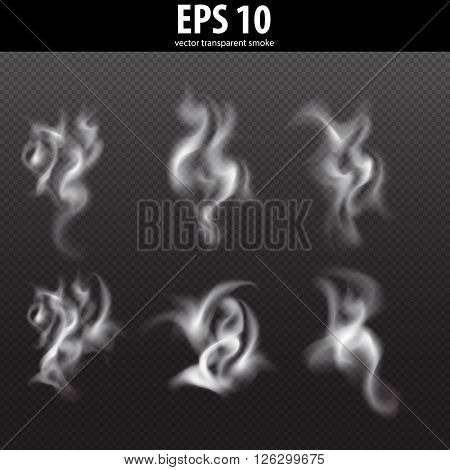 Set of transparent smoke on a plaid background. Transparent vector smoke set. Delicate white cigarette smoke waves on transparent background vector illustration. Smoke from fire on transparent.