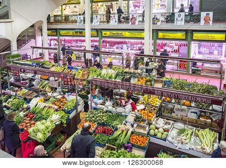 Logroño Spain - April 9 2016. People shopping vegetables in San Blas Market (Mercado de Abastos). San Blas is the main fresh-produce market in downtown of Logroño La Rioja. Spain.