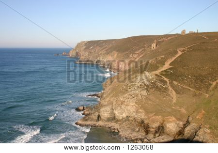 cornwall cliffs chapel porth and wheal coates poster